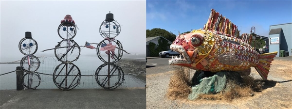 Crab Pot Snowmen in Brookings and fish made from discarded plastic in Bandon