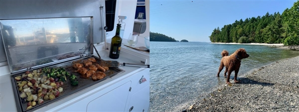 Eating on the boat is more relaxing. Mac enjoyed his three month water home.