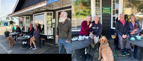 Locals at the Prince Rupert Coffee Shop. With Deb and Terry.